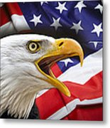 Aggressive Eagle And United States Flag Metal Print by Daniel Hagerman