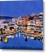 Painting Of Agios Nikolaos City Metal Print