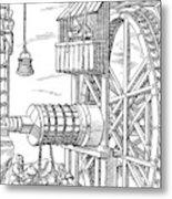 Agricola Water Pump, 1556 Metal Print