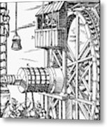 Agricola Waterwheel, 1556 Metal Print