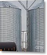 Agricultural Grain Silos Exterior Railway Wagon Metal Print