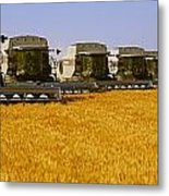 Agriculture - Six Gleaner Combines Metal Print