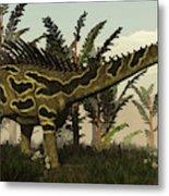 Agustinia Dinosaur Walking Amongst Metal Print