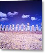 Ahu Tongariki Infrared Metal Print