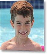 Aidan At The Pool Metal Print