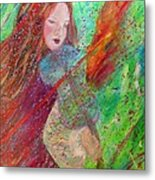 Aiden The Girl On Fire Metal Print by The Art With A Heart By Charlotte Phillips