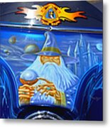 Airbrush Magic - Wizard Merlin On A Motorcycle Metal Print by Christine Till