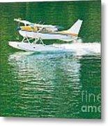 Aircraft Seaplane Taking Off On Calm Water Of Lake Metal Print