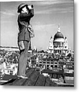 Aircraft Spotter Searches The Sky Metal Print