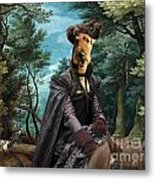 Airedale Terrier Art Canvas Print - Forest Landscape With Deer Hunting And Noble Lady Metal Print