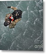 Airmen Are Hoisted Out Of The Water Metal Print