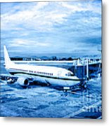 Airplane At Aerobridge Metal Print