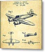 Airplane Patent Drawing From 1938-vintage Metal Print