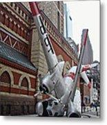 Airplane Sculpture In Philadelphia Pa - Navy S2f Metal Print