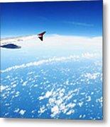 Airplane Wing Against Blue Sky Horizon Metal Print