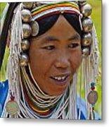 Akha Tribal Woman - Kengtung Burma Metal Print