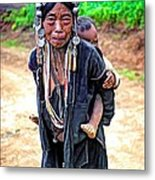 Akha Tribe Paint Filter Metal Print