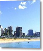 Ala Moana Beach Park And Diamond Head Metal Print