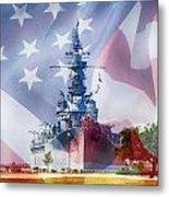 Battleship Alabama And Flag Metal Print