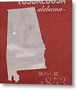 Alabama Crimson Tide Tuscaloosa College Town State Map Poster Series No 008 Metal Print