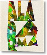 Alabama Typographic Watercolor Map Metal Print