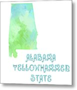 Alabama - Yellowhammer State - Map - State Phrase - Geology Metal Print by Andee Design