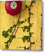 Alarm Bell And Vines Yellow Wall Metal Print