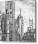 Alarming Morning In Ghent. The Left Part Of The Triptych - The Age Of Cathedrals Metal Print