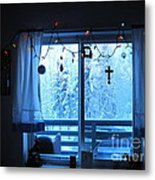 Alaska Christmas Window Decorations And Lights Viewing Sunlit Illuminated Snowy Forest Trees Metal Print by Elizabeth Stedman