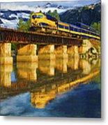 Alaska Railroad Reflections Metal Print