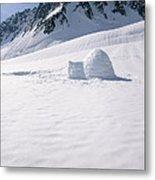 Alaska Range And Glacier With Igloo Metal Print