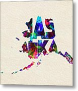 Alaska Typographic Watercolor Map Metal Print