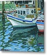 Alaskan Boats In Rippling Water Metal Print by Shalece Elynne