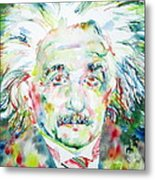 Albert Einstein Watercolor Portrait.1 Metal Print