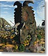 Albertaceratops Dinosaurs Grazing Metal Print