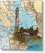 Alcatraz Island Lighthouse Ca Nautical Chart Map Art Metal Print