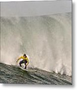 Alex Martins With A Huge Wave On His Heals At The January 2013 Mavericks Invitational Surf Contest Metal Print