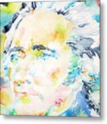 Alexander Hamilton - Watercolor Portrait Metal Print