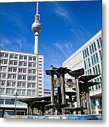 Alexanderplatz View On Television Tower Berlin Germany Metal Print