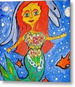 Alexandra's Mermaid Swims With The Dolphins Metal Print