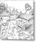 Ali Baba Cover Sketch Metal Print