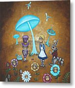Alice In Wonderland - In Wonder Metal Print by Charlene Murray Zatloukal