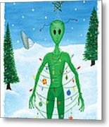 Alien Christmas Out Of This World Metal Print by Kristi L Randall
