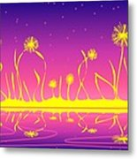 Alien Fire Flowers Metal Print