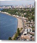 Alki Beach And Downtown Seattle Metal Print