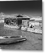 All Aboard Black And White Metal Print