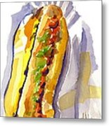 All Beef Ballpark Hot Dog With The Works To Go In Broad Daylight Metal Print by Kip DeVore