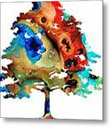 All Seasons Tree By Sharon Cummings Metal Print by Abstract Art