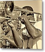 All That Jazz Sepia Metal Print