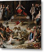 Allegory Of The Abdication Of Emperor Charles V In Brussels, C.1630-1640, By Frans Francken Metal Print
